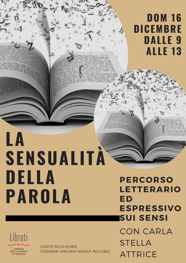 La sensualità della parola - laboratorio con Carla Stella