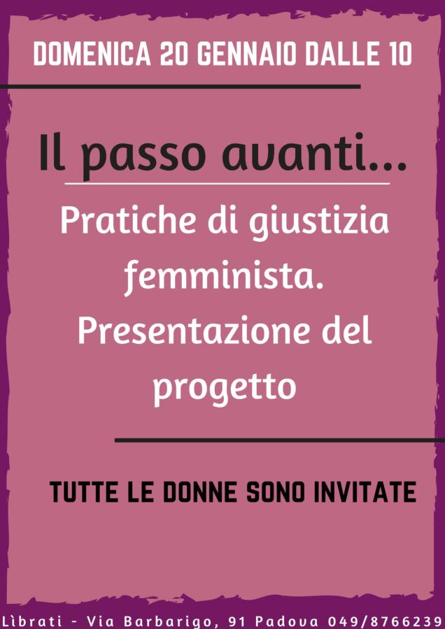 Il passo avanti. Pratiche di giustizia femminista. Presentazione del progetto