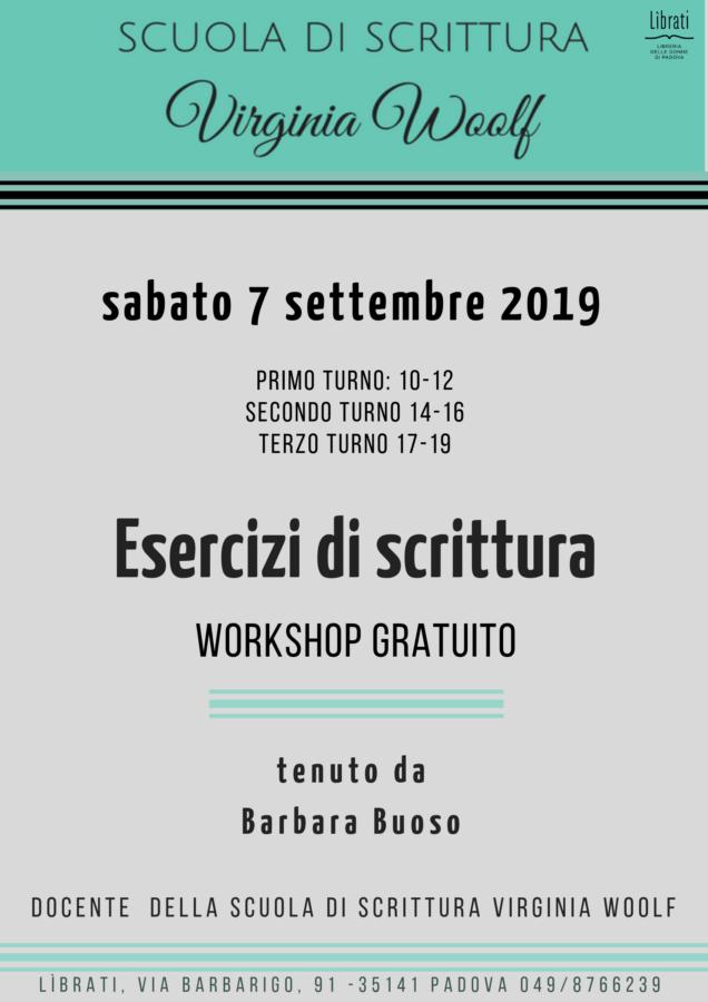 Esercizi di scrittura - workshop gratuito
