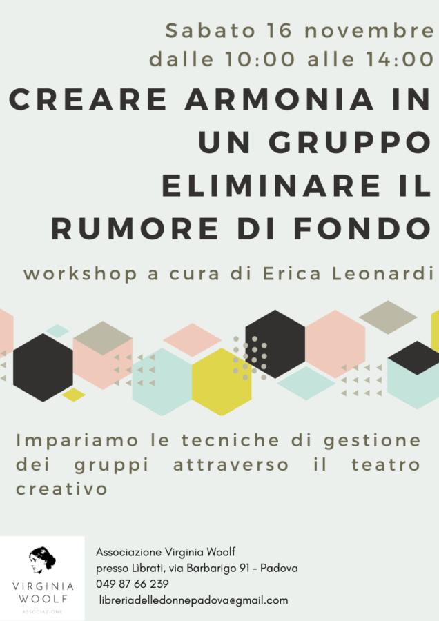 Creare armonia in un gruppo. Workshop a cura di Erica Leonardi